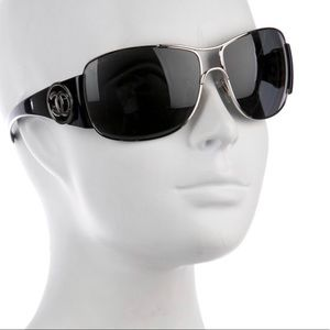 24 hr. Sale! CHANEL Black Metal Logo Sunglasses